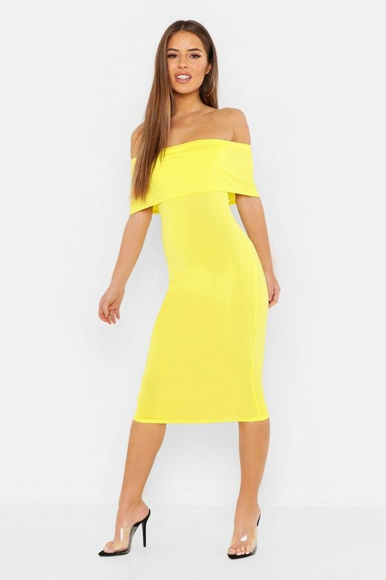 Womens Chartreuse Petite Off The Shoulder Midi Dress