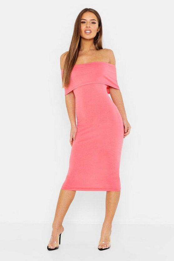 Womens Coral Petite Off The Shoulder Midi Dress