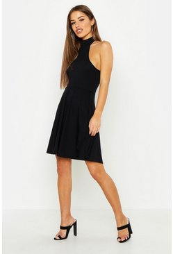 Womens Black Petite Turtle Neck Rib Skater Dress