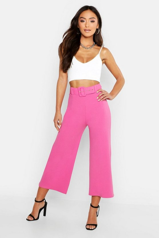 Womens Bright pink Petite Self Belt Wide Leg Trouser