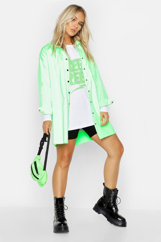 e2dadbf09b Petite Oversized Neon Denim Shirt | Boohoo