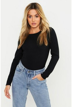 Black Petite Rib Long Sleeve Basic Top
