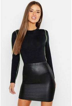 Womens Black Petite Wet Look Mini Skirt
