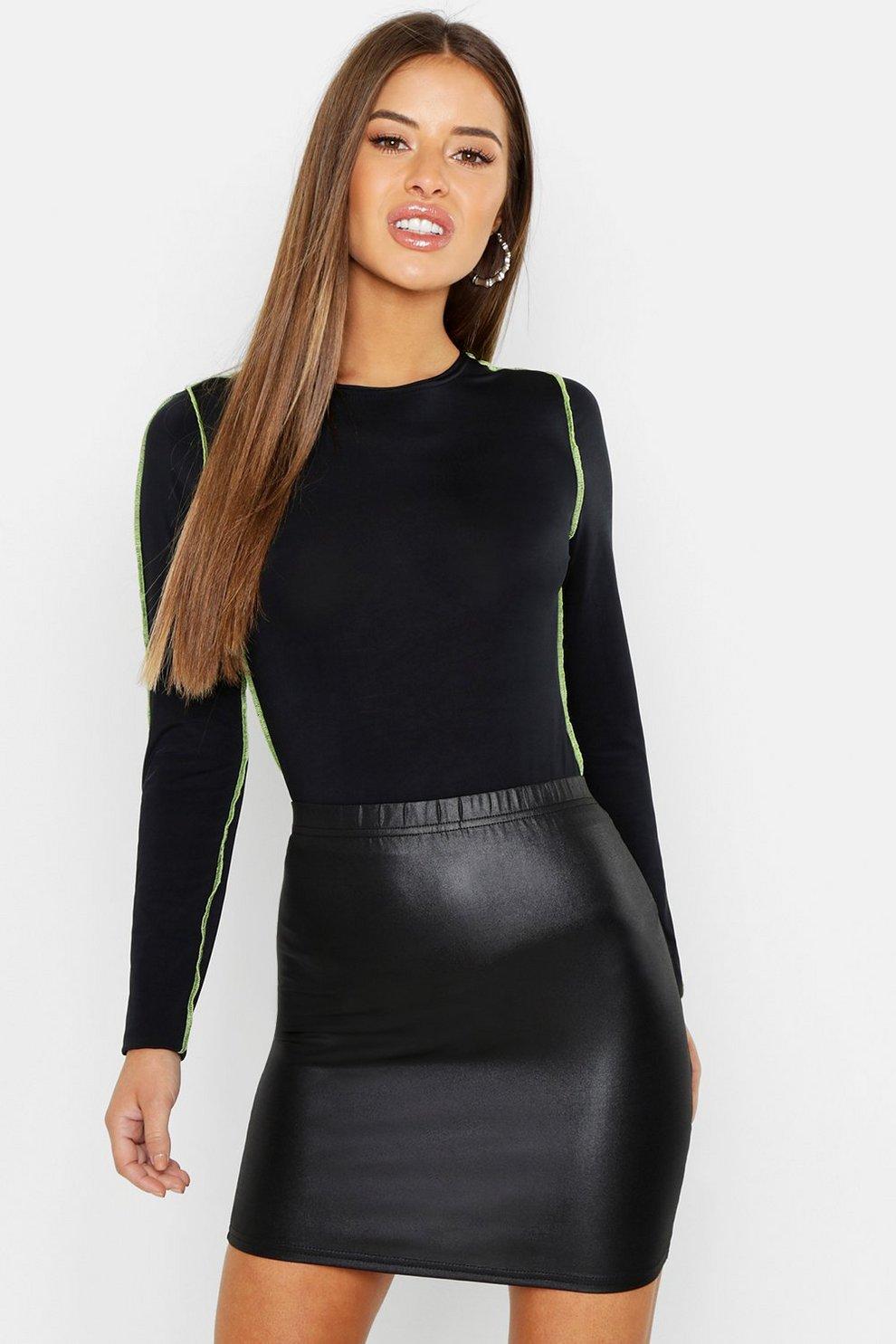 1fd9cc9a81 Petite Wet Look Mini Skirt | Boohoo