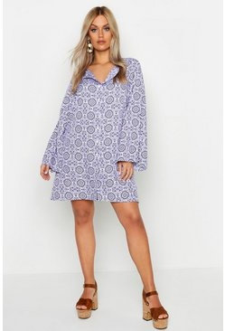 Womens Blue Plus Printed Button Up Long Sleeve Smock Dress