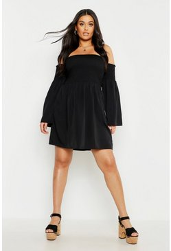 Womens Black Plus Shirred Flare Sleeve Bardot Skater Dress