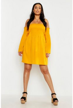 Womens Mustard Plus Shirred Flare Sleeve Bardot Skater Dress