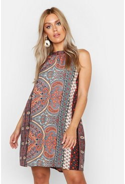 Plus Paisley Print High Neck Smock Dress, Black, Donna
