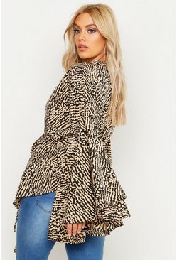 Womens Camel Plus Printed Extreme Sleeve Wrap Top