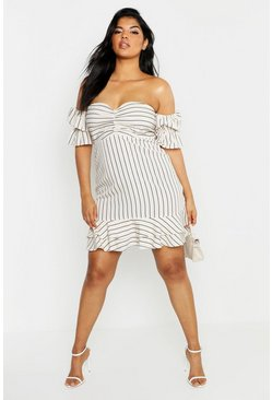 Womens Stone Plus Stripe Gathered Detail Bardot Midi Dress