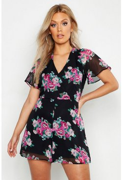 Plus Floral Print Wrap Front Playsuit, Black, Donna