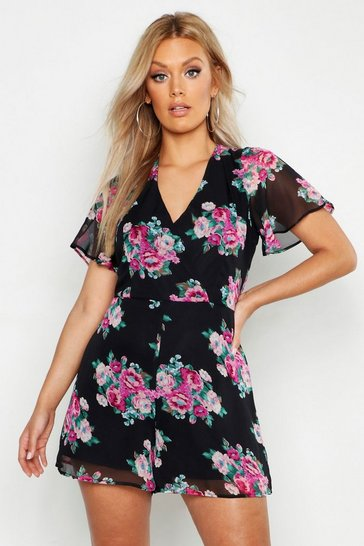Womens Black Plus Floral Print Wrap Front Playsuit