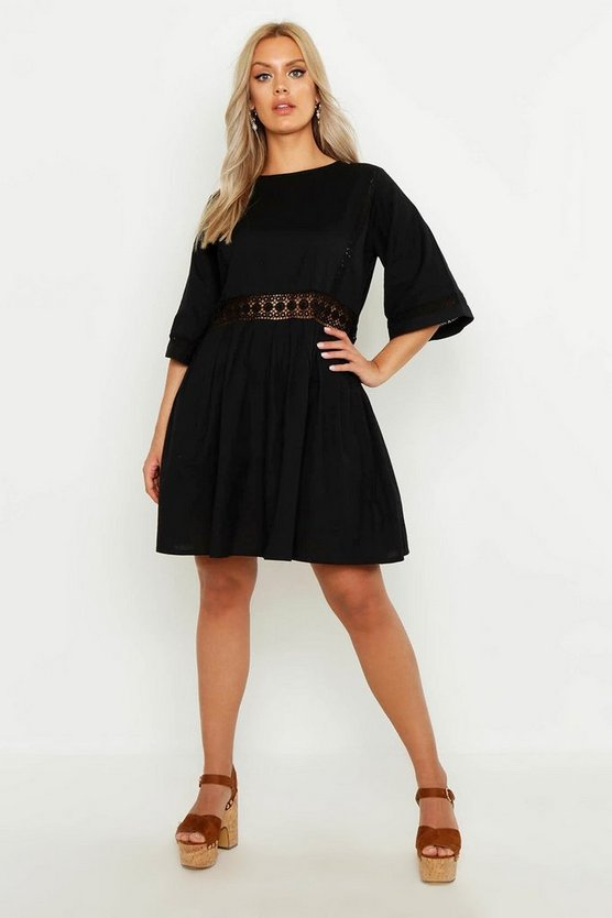 Plus Crochet Lace Linen Smock Dress, Black, Donna