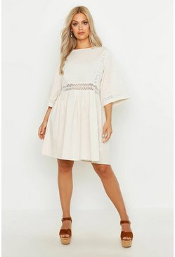 Plus Crochet Lace Linen Smock Dress, Ivory, Donna