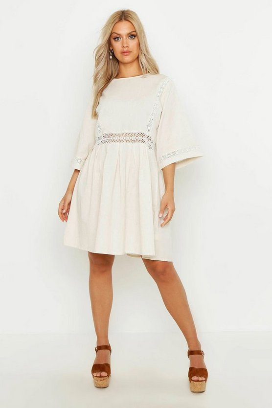Womens Ivory Plus Crochet Lace Linen Smock Dress