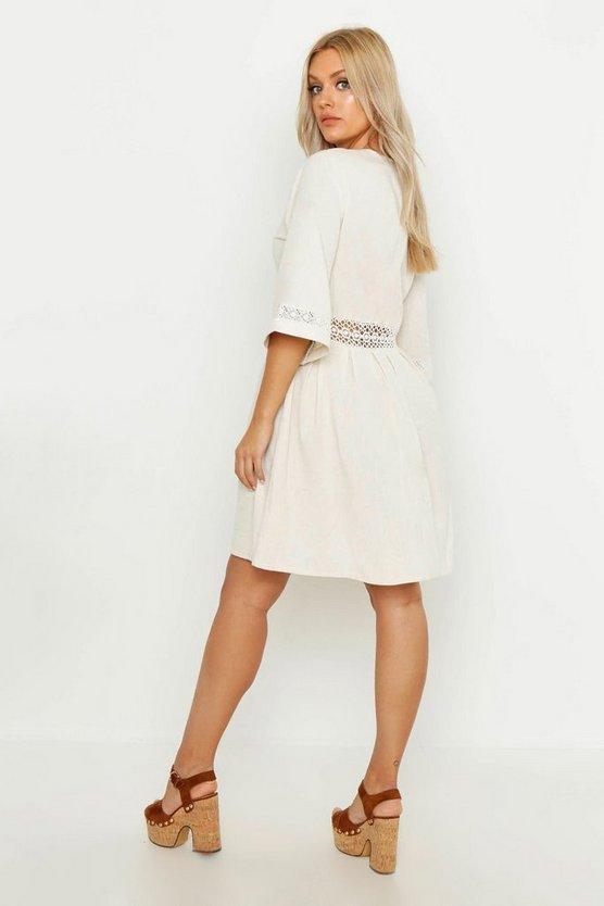 Plus Crochet Lace Linen Smock Dress