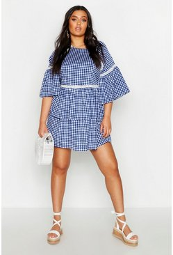 Womens Blue Plus Gingham Print Embroidered Smock Dress