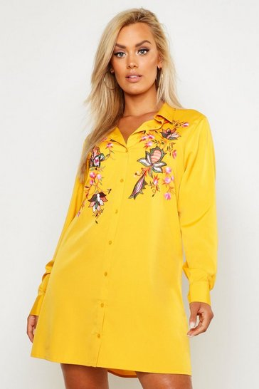 Womens Mustard Plus Embroidered Shirt Dress