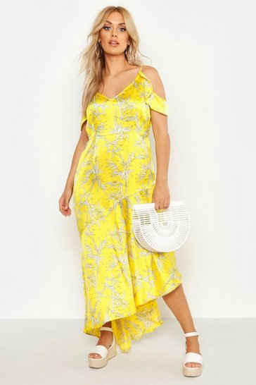 Womens Orange Plus Cold Shoulder Tropical Print Midaxi Dress