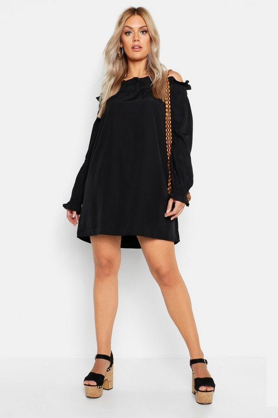 Womens Black Plus Ruffle Volume Sleeve Bardot Smock Dress
