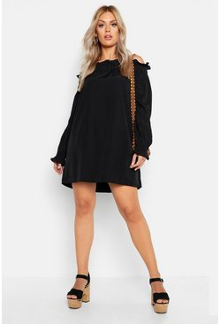 Womens Plus Ruffle Volume Sleeve Bardot Smock Dress