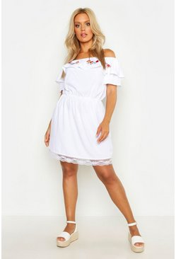 Womens White Plus Embroidered Bardot Skater Dress