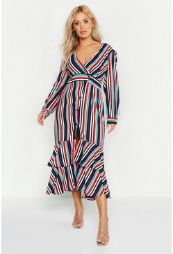 Womens White Plus Stripe Ruffle Hem Button Up Maxi Dress