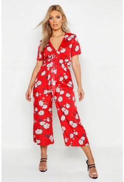 Womens Red Plus Floral Print Knot Front Culotte Jumpsuit