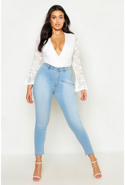 Womens Light blue Plus High Rise Stretch Skinny Jeans