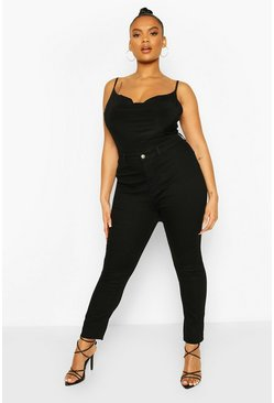 Womens Black Plus High Rise Stretch Skinny Jeans