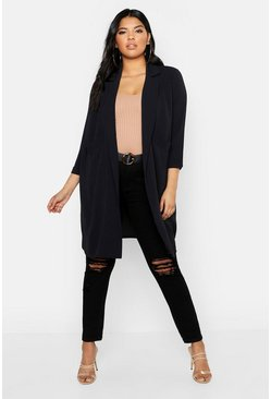 Manteau long tissé à poche Plus, Noir