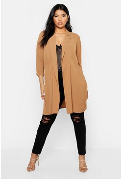 Womens Camel Plus Woven Pocket Duster