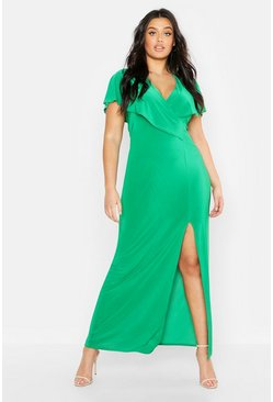 Womens Green Plus Wrap Front Maxi Dress