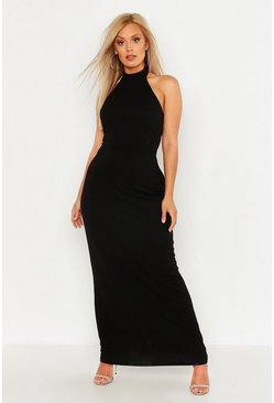 Plus High Neck Maxi Dress, Black, Donna