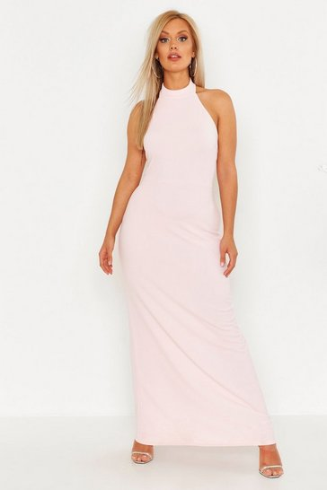 Womens Blush Plus High Neck Maxi Dress