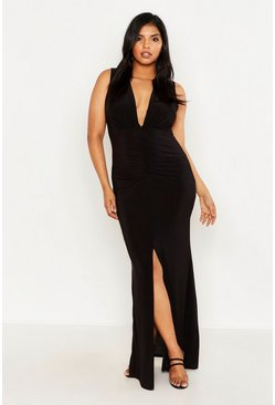 Womens Black Plus Plunge Front Maxi Dress