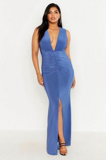 Womens Vintage blue Plus Plunge Front Maxi Dress