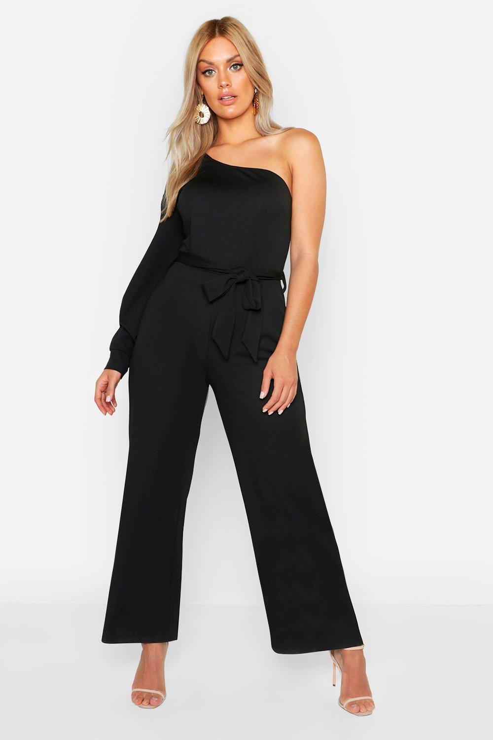 Plus Split Sleeve Wide Leg Jumpsuit