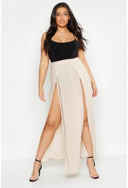 Womens Stone Plus Slinky Double Slit Maxi Skirt