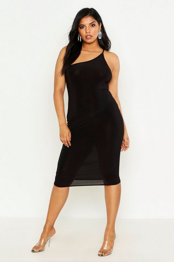 Plus One Shoulder Midi Dress, Black, Donna