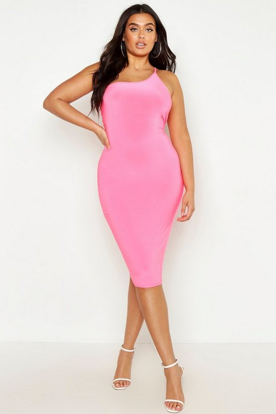Womens Neon-pink Plus One Shoulder Midi Dress