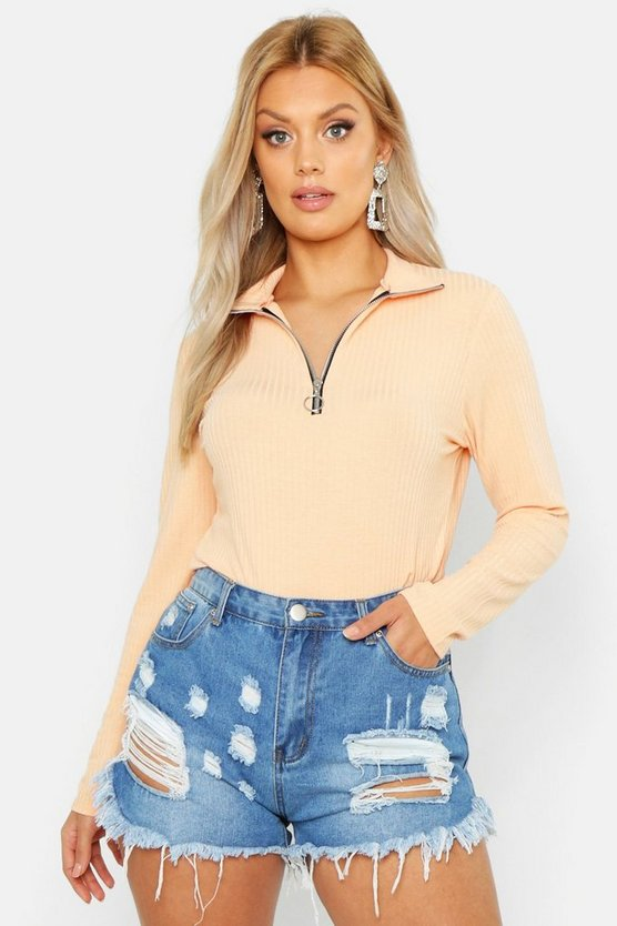 Womens Peach Plus Washed Pastel Rib Zip Detail Top