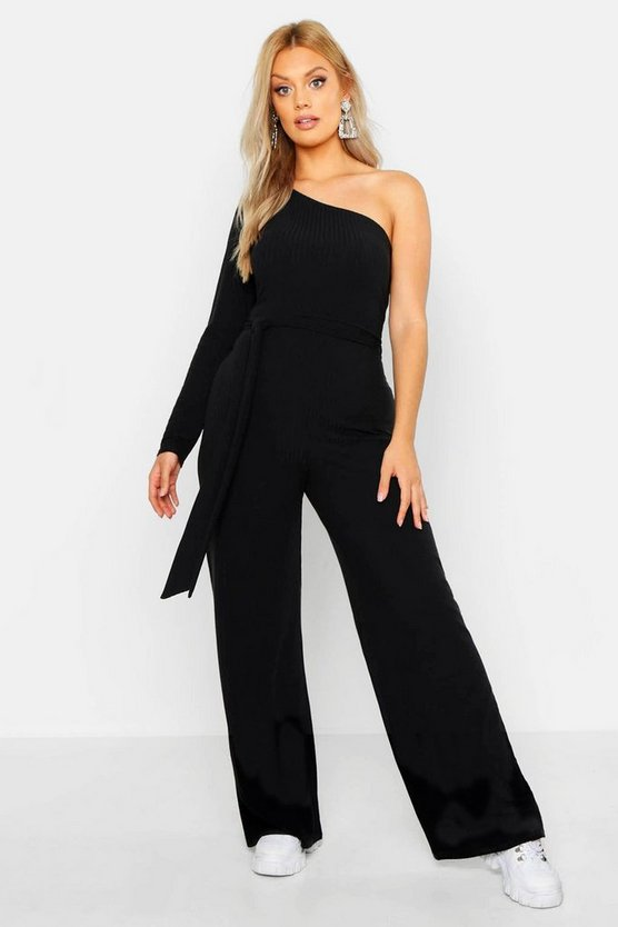 Womens Black Plus Washed Pastel Rib One Shoulder Jumpsuit