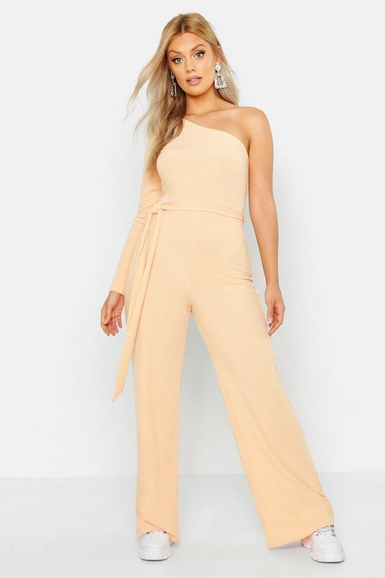 Plus Washed Pastel Rib One Shoulder Jumpsuit by Boohoo