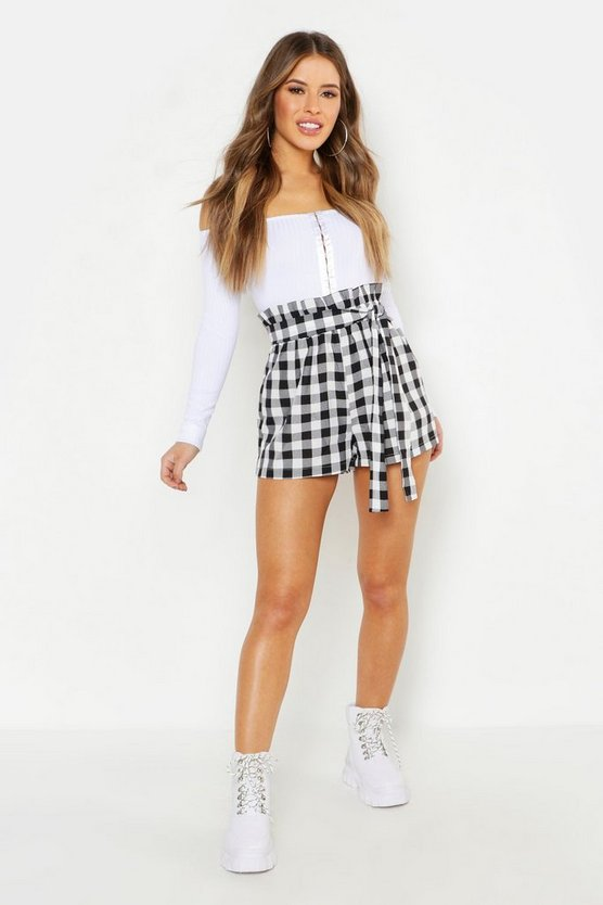 Petite Gingham Belted Woven Tailored Shorts, Black, Donna