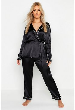 Womens Black Plus Premium Wrap Front Belted PJ Set