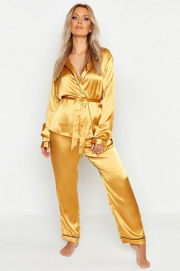 Womens Gold Plus Premium Wrap Front Belted PJ Set