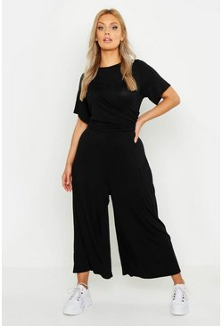 Womens Black Plus Twist Detail Cap Sleeve Culotte Jumpsuit