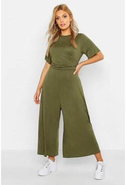 Plus Twist Detail Cap Sleeve Culotte Jumpsuit, Khaki, Donna