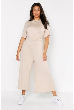 Plus Twist Detail Cap Sleeve Culotte Jumpsuit, Stone